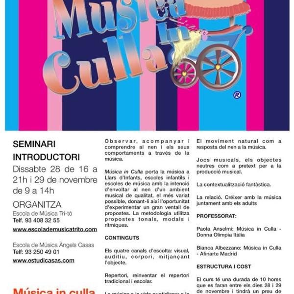 """Seminari introductori """"Música in culla"""" a Barcelona el 28 i 29 de novembre."""