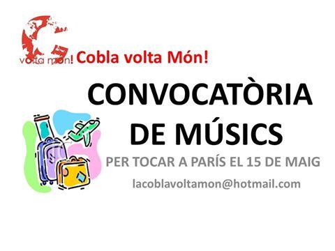 """""""Cobla volta Món!"""" obre una convocatòria de músics per tocar a París el 15 de maig"""