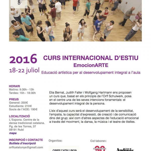 Curs internacional d'estiu Orff Catalunya EmocionARTE