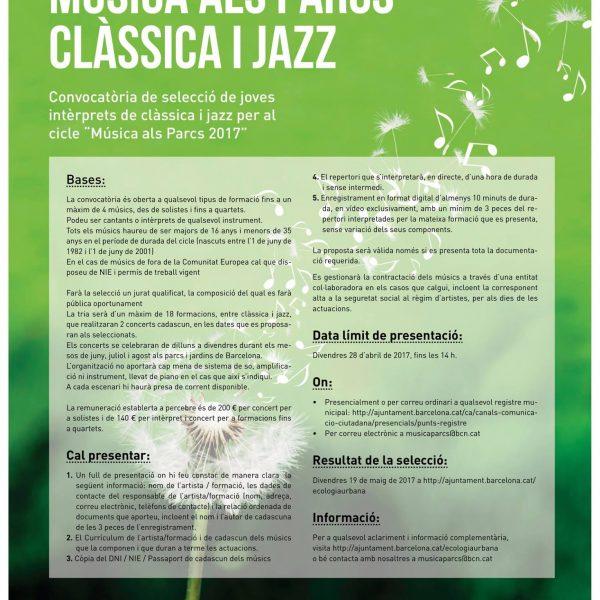 Convocatòria oberta Música als Parcs 2017 per a joves intèrprets de clàssica i jazz