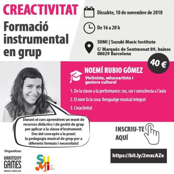 """Curs de formació """"Creactivitat: formació instrumental en grup"""" el 10 de novembre a Barcelona"""