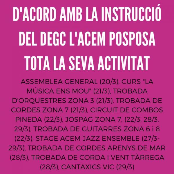 L'ACEM posposa tota la seva activitat degut a la crisi del COVID 19