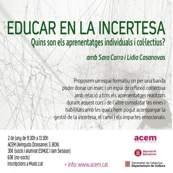 """Inscripcions obertes al curs ACEM """"Educar en temps d'incertesa, quins són els aprenentatges individuals i col·lectius?"""""""