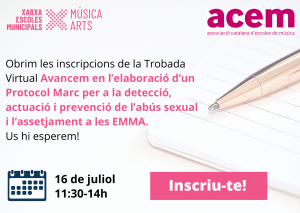 Inscripció oberta per participar a la reunió de treball per a l'elaboració d'un Protocol per la detecció, actuació i prevenció de l'abús sexual i l'assetjament a les escoles de música